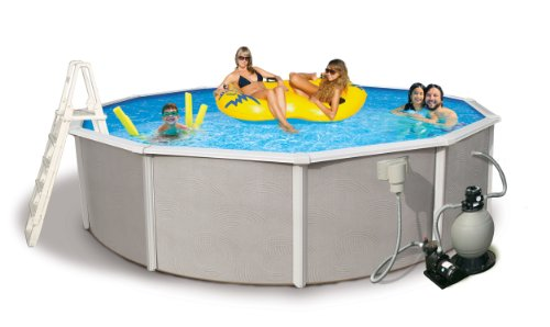 Blue Wave Belize 24-Feet Round 48-Inch Deep 6-Inch Top Rail Metal Wall Swimming Pool Package