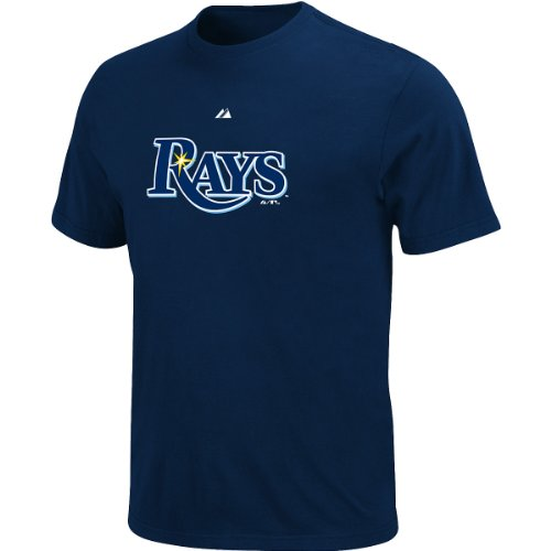 Majestic Youth's Tampa Bay Rays Official Wordmark Tee -- Navy Small