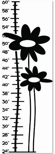 Design with Vinyl Design 263 Kids Growth Chart Flowers Only -Vinyl Wall Decal, 15-Inch By 38-Inch, Black