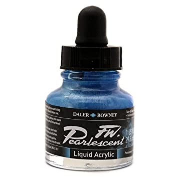 Daler-Rowney FW603201122 Pearlescent Liquid Acrylic Ink 1 oz. Sun-up Blue