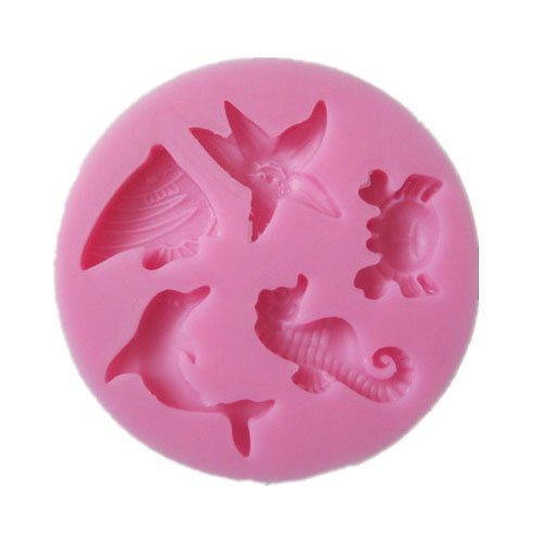 Dolphins Crab Starfish Hippocampus Mini Mold Silicone Chocolate Fondant Candy Mold DIY Cake Decorating 10 in 1 fondant cake decorating flower modelling tool set multicolored