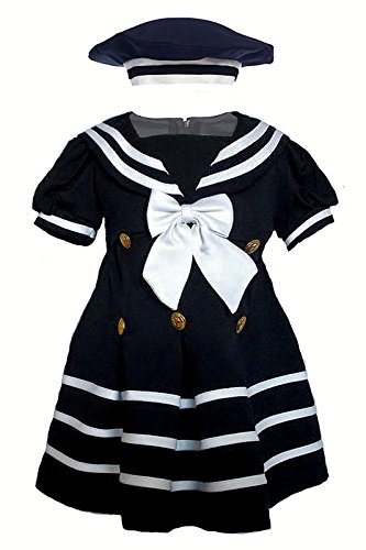 Unotux Baby Girl Toddler Sailor Nautical Navy Blue Dresses Outfits Newborn to 4T