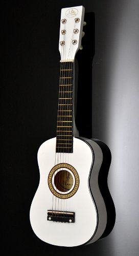 Child's Guitar Wooden for Ages 3 and Above with Bag and Replacement Strings 59 cm White