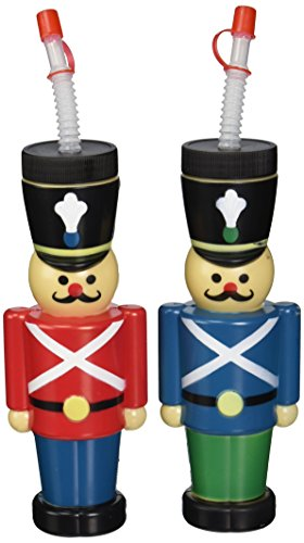 Set of 6 Nutcracker Cups with Lids & Straws ~ 12oz ~ Red and Blue