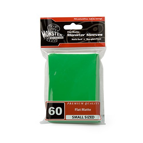 Sleeves - Monster Protector Sleeves - Smaller Size Flat Matte - GREEN (Fits Yugioh and Other Smaller Sized Gaming Cards)