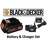 Black & Decker LBXR20 20-Volt Lithium-Ion Battery Pack & Black & Decker 16v-20v Lithium-ion Charger # 90590282 (BATTERY & CHARGER SET) (Color: ORANGE & BLACK, Tamaño: BATTERY & CHARGER SET)