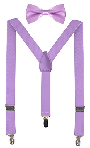 BODY STRENTH Kid's Suspenders Light Purple Bow Tie for Boys 26 Inches (3yrs - 9yrs) Light Purple