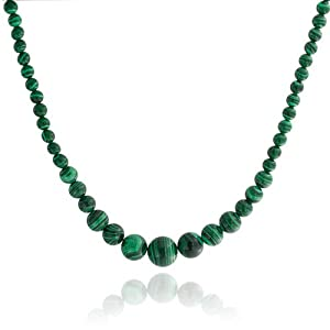 Bling Jewelry Graduated Green Simulated Malachite Simulated Turquoise Necklace 16in Silver Plated