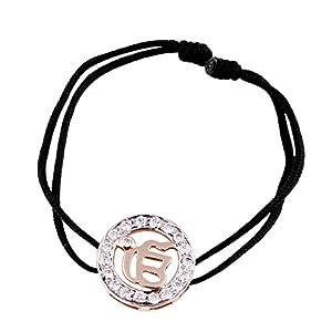 Ik Onkar Diamond Bracelet in 14K Gold 18mm on adjustable nylon thread partially rhodium plated