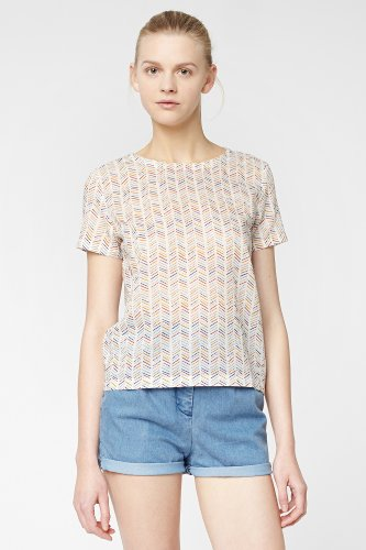 L!VE Short Sleeve Mini Tribal Printed Crewneck Top