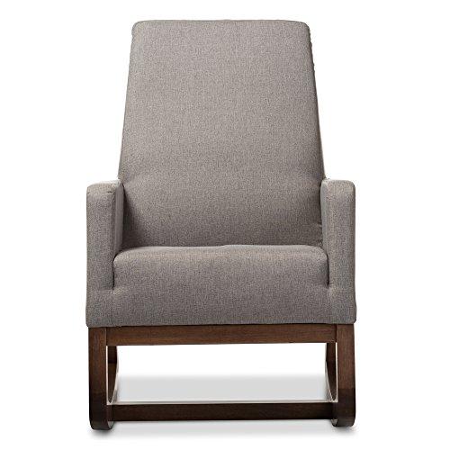 Baxton Studio Yashiya Mid Century Retro Modern Fabric Upholstered Rocking Chair, Grey 1