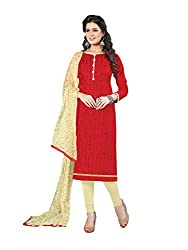 PS ENTERPRISE Red Cotton Unstitched Dress Material