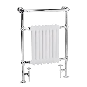"Hudson Reed Marquis Traditional Heated Towel Rail Radiator Hydronic Warmer - 25"" x 37"" - Chrome & White Fiinish - Fixing Pack & Valves Included"