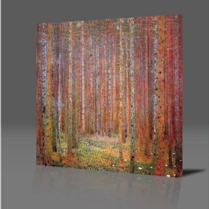 GUSTAV KLIMT Tannenwald I Gallery Framed Giclee Canvas Art Picture Poster Print NEW Ready To Hang Modern Wall Art Red Forest