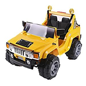 Yellow Electric Hummer H2 Style Jeep Ride On Car - Kids Ride on Electric 12v Battery Toy