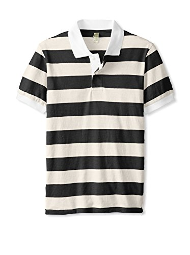 Alternative Men's Short Sleeve Stripe Polo Eco True Vintage Black/Stone Polo Shirt SM Jersey Vintage Polo Shirt