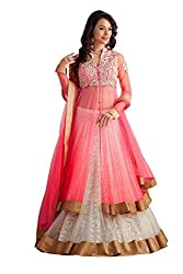 Clickedia Women's Net With Heavy Work Pink & White Lehenga Suit- Dress Material