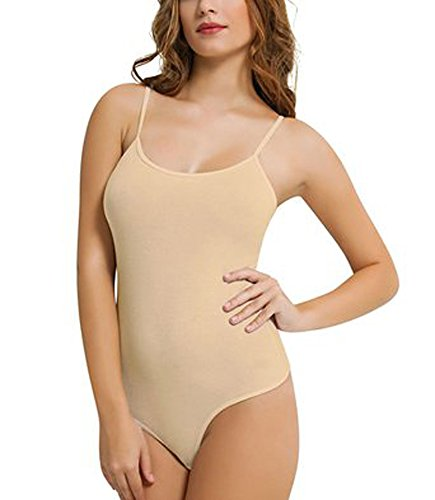 Girl's Cotton Thin Strap Camisole Leotards / Bodysuits Stretchy Dance/Gym/Ballet Sports (UK10 (SMALL), TAN)