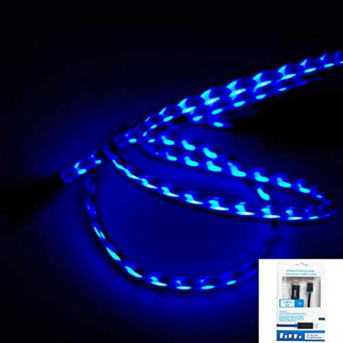 Imz® Black Blue Visible Flowing Led El Light Micro Usb Sync Data Charging Charger Cable For Samsung Galaxy S4 S3 S I9500, Note 2 Ii, Epic 4G Touch, Skyrocket, Galaxy Attain, Galaxy Note, Galaxy Nexus, Galaxy Mega, Galaxy Pocket, Rugby Smart And More - [Mb