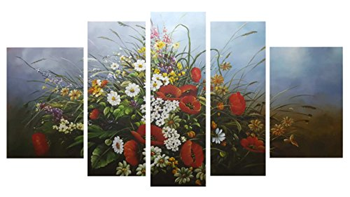 Mooil Art Hand painted Framed Modern Kitchen Canvas Paintings Charming Beautiful Flower Theme Oil Wall Art Oil Painting Set Bar Bed Room Decorative Pictures (Jo Sonja Brushes compare prices)