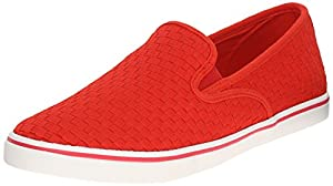 Lauren Ralph Lauren Women's Janis Fashion Sneaker, Red Woven, 7.5 B US