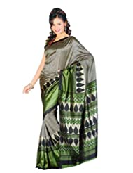 Sunaina Synthetic Silver/Green Printed Saree
