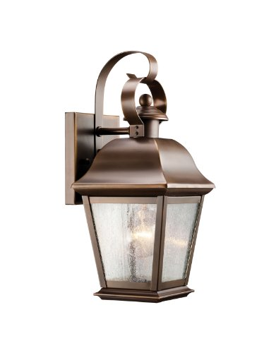 Kichler Lighting 9707OZ Mount Vernon 1-Light Outdoor Wall Mount Lantern, Olde Bronze with Etched Seedy Glass
