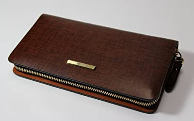Eliteshine Leather Zipper Men's Clutch Bag Brown