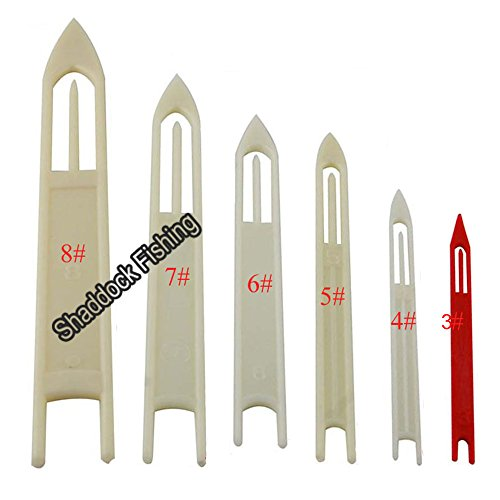 Easy-Catch-6-Pack-White-Plastic-Fishing-Line-Equipment-Repair-Netting-Needle-Shuttles-Size345678
