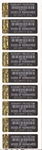 Warranty Protection Black Tamper Evident Security Labels X 100 With Gold Hologram Strip to Short Edge Each With Unique Serial Number