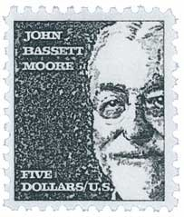 No. 1295 - 1965 $5 John Bassett Moore Postage Plate Block (4 Stamps)