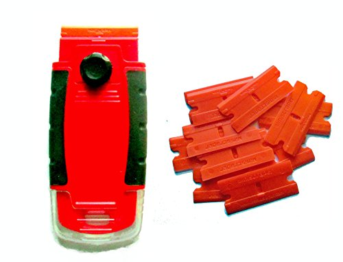 100 Plastic Double Edged Razor Blades And Long Handled Red Mini Scraper