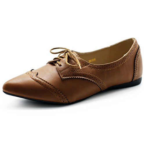 Ollio Women's Ballet Shoe Flat Enamel Pointed Toe Oxford (9.5 B(M) US, Brown)