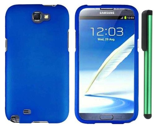 Blue Design Protector Hard Cover Case for Samsung Galaxy Note II N7100 (AT&T, Verizon, T-Mobile, Sprint, U.S. Cellular) Android Smart Phone + Combination 1 of New Metal Stylus Touch Screen Pen (4