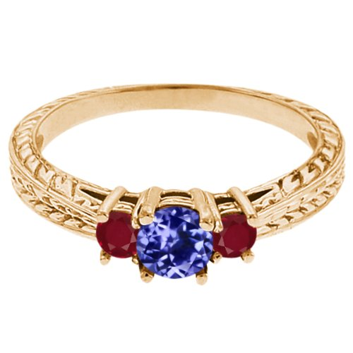 0.58 Ct Round Blue Tanzanite Red Ruby 18K Yellow Gold 3-Stone Ring
