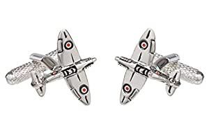 Silver Colour Spitfire War Aircraft Cufflinks - Supplied in Onyx Art Box