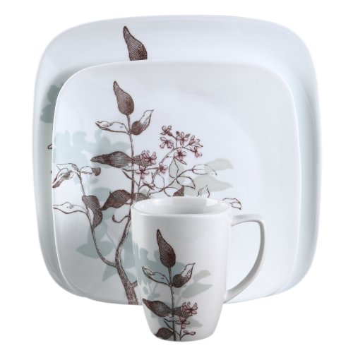 Corelle 16-Piece Square Twilight Grove Dinnerware Set
