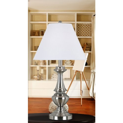 Kenroy Home 80010BS New Hope Table and Floor Lamp, 3 Pack, Brushed Steel