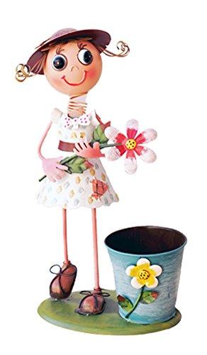 Gartendeko m dchen mit riesenblume gartenfigur mit for Gartendeko metallfiguren