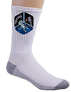 """Space Pills"" Funny Astronaut Aliens Popping Pills - Crew Socks"