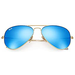 Ray-Ban RB3025 112/17 Aviator Sunglasses Matte Gold / Blue Mirror Lens 58mm