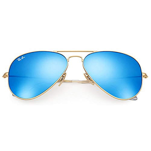 Image of Ray-Ban RB3025 112/17 Aviator Sunglasses Matte Gold / Blue Mirror Lens 58mm
