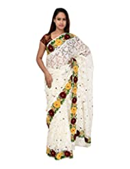 A1 Fashion Women Brasso White Saree With Blouse Piece - B00VUS0H4U