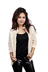 Fadjuice Women's Baggy Fit Jacket (Fj44049S_Off White_Small)