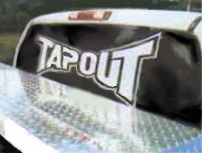 TAPOUT Giant 3 Foot WHITE VINYL STICKER / DECAL (Clothing,Sports)