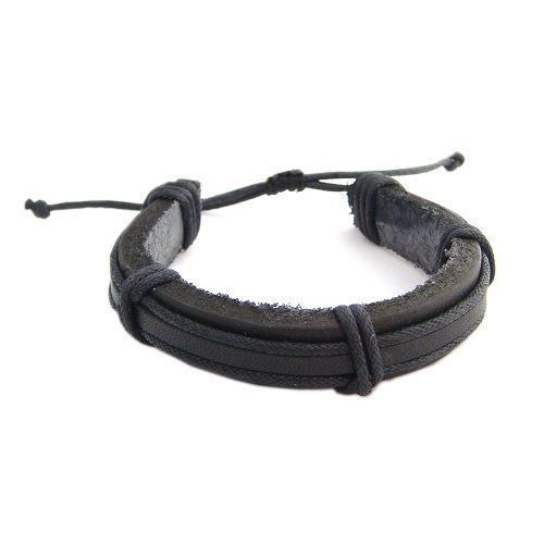 Hawaiian Black Leather Surfer Bracelet From Hawaii