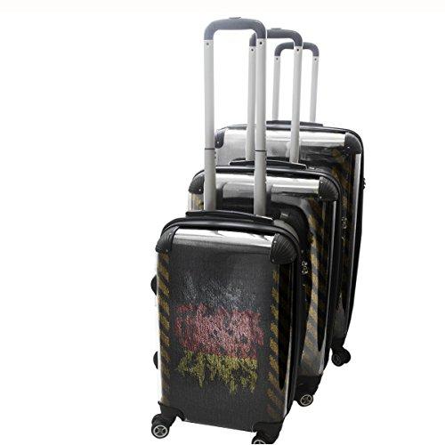 Drapeau Graffiti Allemagne, 3 pièce Set Luggage Bagage Trolley de Voyage Rigide 360 degree 4 Roues Valise avec Echangeable Design Coloré. Grandeur: Adapté à la Cabine S, M, L