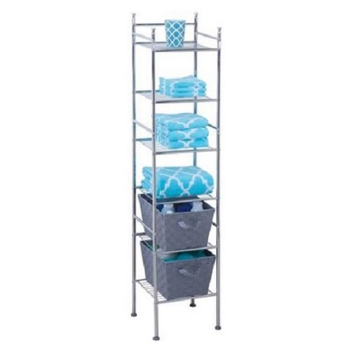 6-Tier Metal Tower Shelving Unit Chrome Bathroom Laundry Storage Organization Kitchen Pantry Versatile and fashionable High-quality steel construction Great for any size space (Pantry Shelving Unit compare prices)