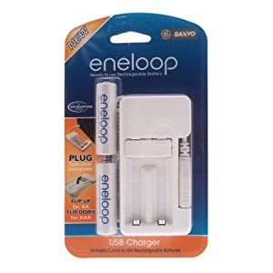 USB Charger with 2 Sanyo Eneloop AA batteries