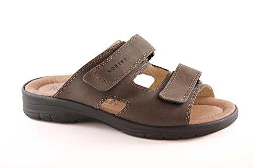ROBERT 03010 marrone ciabatte sandali uomo strappi comfort pelle 41